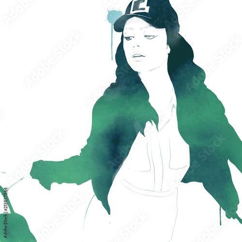 Fashion girl in watercolor  - 213837864