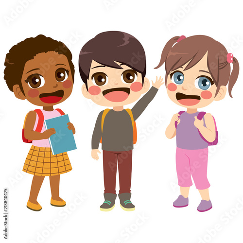 Three cute friendly children students standing together - 213840425