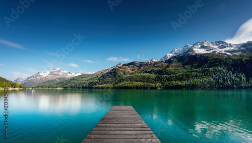 Aluminium Pier landing stage at a lake in the mountains