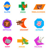 geometric shapes with funny animal characters - 213848071