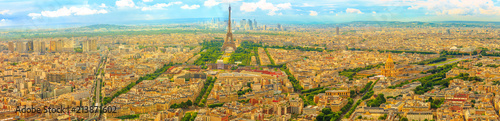 Parisian panorama aerial view of Paris skyline with the Tour Eiffel tower and national residence of the Invalids palace. Top of the Tour Montparnasse tower of Paris city, in France. - 213871602
