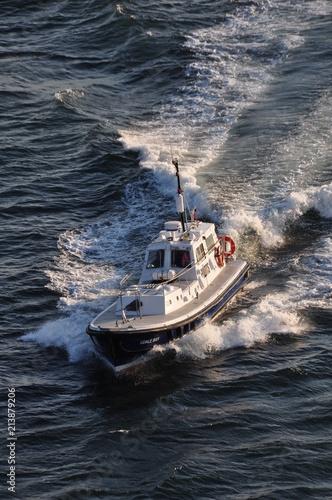 A small customs ship escorts a liner from portat