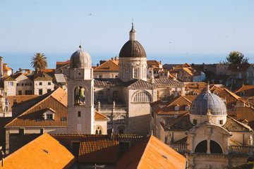 Dubrovnik terra cotta rooftops at sunset, Dalmatia, Croatia
