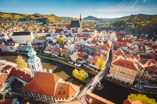 Historic town of Cesky Krumlov at sunset, Bohemia, Czech Republic
