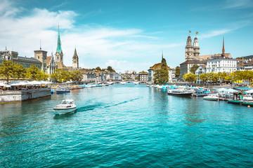 Zürich city center with Limmat river in summer, Switzerland