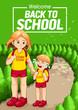 Welcome back to school, Children go to school, vertical poster. - 213885485