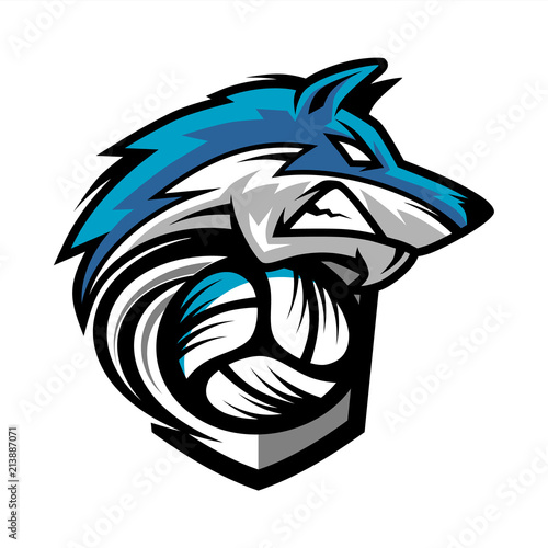 Fototapeta Volleyball Wolf Team Logo