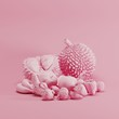 Pink color Mixfruit monotone on pastel pink background. minimal fruit idea concept. - 213887889