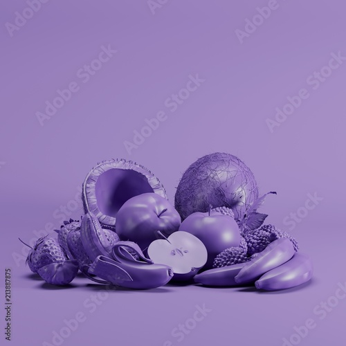 Violet color Mixfruit monotone on pastel yellow background. minimal fruit idea concept. - 213887875