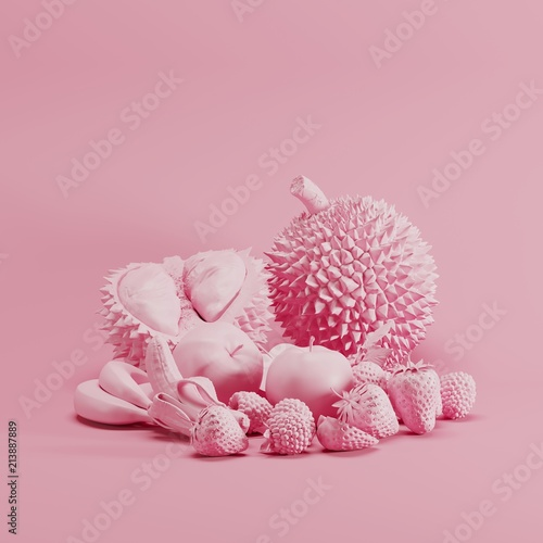 Pink color Mixfruit monotone on pastel pink background. minimal fruit idea concept. - 213887889