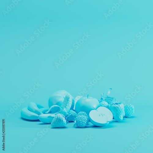 Blue Mixfruit monotone on pastel blue background. minimal fruit idea concept. - 213887891