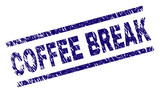 COFFEE BREAK stamp seal watermark with grunge style. Blue vector rubber print of COFFEE BREAK caption with retro texture. Text caption is placed between parallel lines. - 213895222