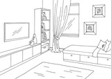 Children room graphic black white interior sketch illustration vector - 213898087