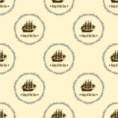 Sign of King of the Sea. Seamless vector pattern. Modern style for wallpaper, wrapping, fabric, background, apparel, other print production.
