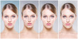 Leinwandbild Motiv Beautiful face of young and healthy girl in collage collection. Plastic surgery, skin care, cosmetics and face lifting concept.