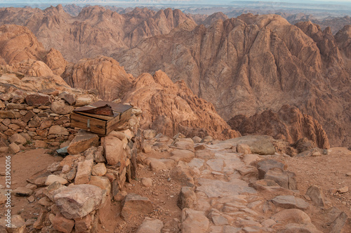 Fotobehang Cappuccino View to the Moses mountains, Egypt 2