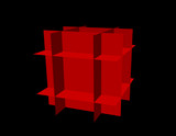Abstract polygonal cube. Isolated on black background. Vector illustration. - 213901808