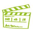 Handgezeichnete Filmklappe in hellgrün