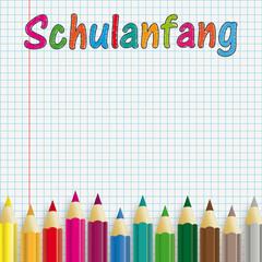 Bunte Stifte auf kariertem Blatt Papier Schulanfang
