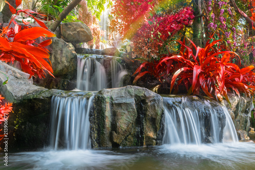 Waterfall in garden at the public park - 213906677