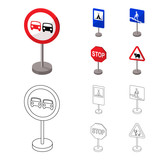 Different types of road signs cartoon,outline icons in set collection for design. Warning and prohibition signs vector symbol stock web illustration. - 213908652