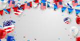 Labor day card design American flag balloons with confetti background. Sale Vector illustration. - 213913802