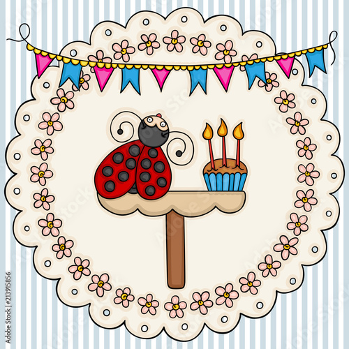 Card template with a cute ladybug with birthday cake background
