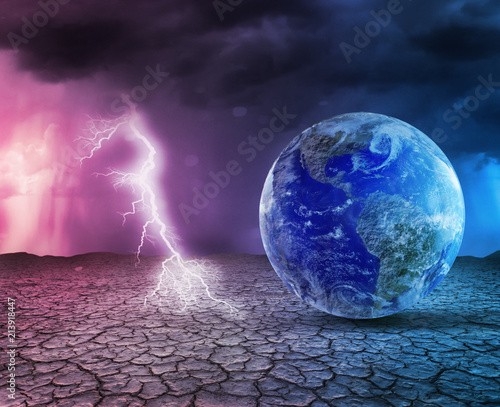 Foto Murales Global warming and apocalypse concept 3D illustration.