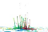 Splash of color ink on white background - 213920013