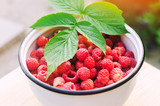fresh raspberry in a bowl is in the garden on a background of green grass. summer harvest. red berry. healthy food.