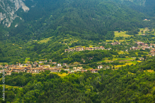 Foto Spatwand Groen blauw View on traditional Italian village in the Apennines mountains.