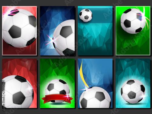 Soccer Poster Set Vector Empty Template For Design Modern Tournament Promotion