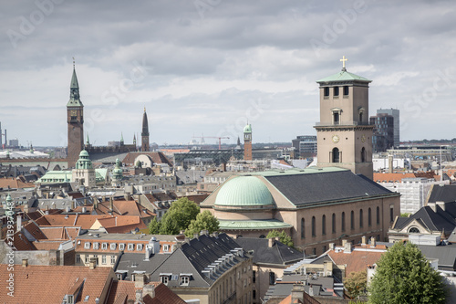 City Hall and Cathedral View; Copenhagen from Round Tower, Denmark