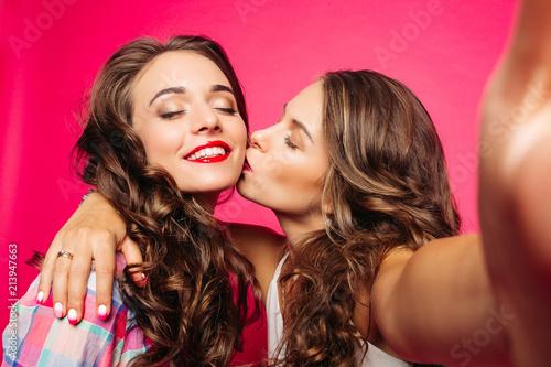 Close Up Girls Kissing