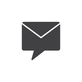 Private message vector icon. filled flat sign for mobile concept and web design. Envelope speech bubble simple solid icon. Symbol, logo illustration. Pixel perfect vector graphics - 213949005