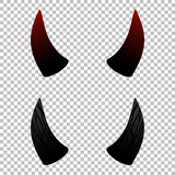 Devil, demon or satan horns set, collection on transparent background. Vector design elements for halloween. - 213957839