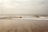North Sea beach in Denmark at cloudy day. - 213963486