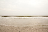 North Sea beach in Denmark at cloudy day.