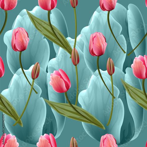 Fototapeta Seamless pattern with tulips flowers on blue background. Trendy fashion vector illustration.