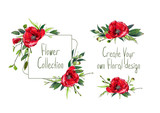 Set with illustration of red poppies' flowers. Frame and small bouquets for decoration and your design. Markers' and watercolor's art. - 213970684