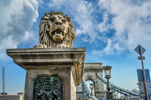 Foto Spatwand Boedapest A stone lion stands at the entrance to the Chain Bridge on the Buda side of the Danube in Budapest, Hungary