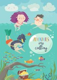 Happy children swimming on sea. Girl diving and looking at the fish - 213986408