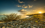 sunset over a cuban bay on a stony beach with tropical plants and a colorful sky