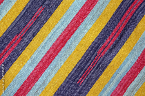 Cloth textured knitted colorful diagonal stripes as background