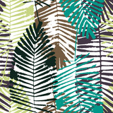 Tropical leaves, jungle pattern. Seamless, detailed, botanical pattern. Vector background. - 214004863