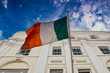Irish flag flying from building in Dublin, Ireland - 214017660