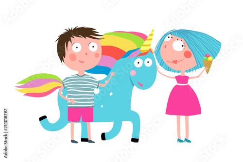 Young couple of kids with animal, fun childish illustration. Vector cartoon.