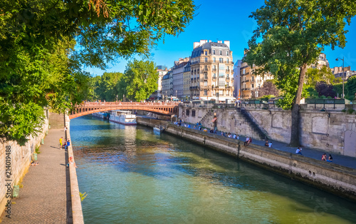 Bridge and buildings near the Seine river in Paris, France