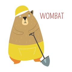 Wombat cartoon vector Australian animal © Sonulkaster