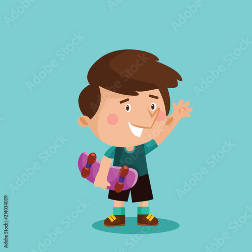 adorable cute little skateboarder boys kids cartoon character - 214034089